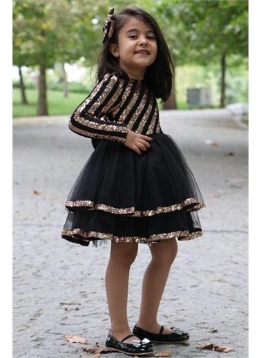 Riccotarz Kız Çocuk Şerit Parıldayan Maskeli Gold-Siyah Abiye Renkli